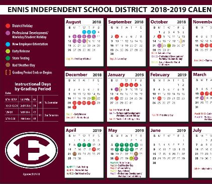 Image of 2018-2019 district calendar